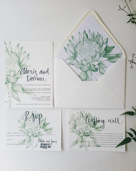 Protea Wedding Invitation, hand drawn in green, includes calligraphy text. Get the full set!