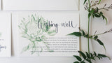 Protea Wishing Well card, hand drawn in green