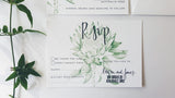 Protea Rsvp cards, hand drawn in green and features calligraphy text