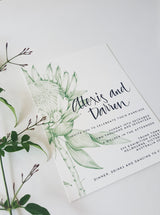 Protea wedding Invitation, hand drawn in green