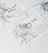 Green or Grey Protea Wedding Invitation