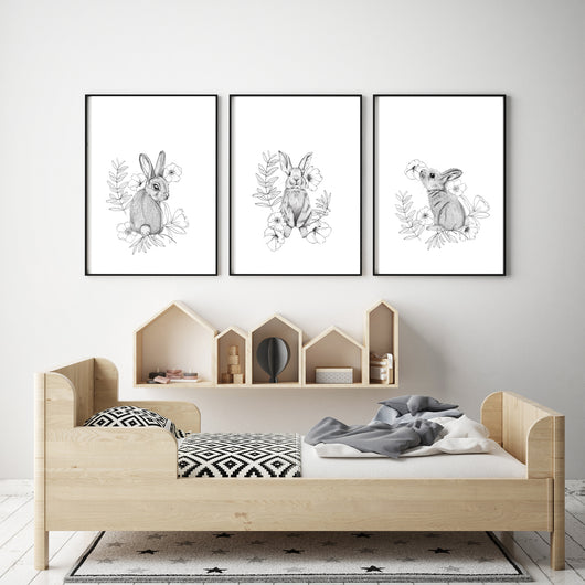 Bunny Prints-Set of 3