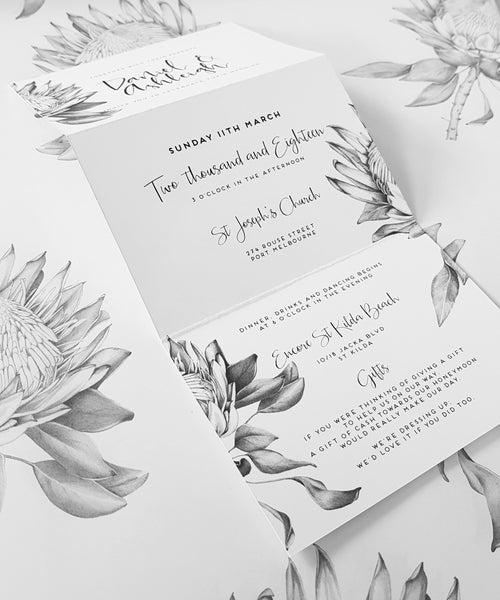 Trifold Wedding Invitation featuring Protea hand drawn native flower