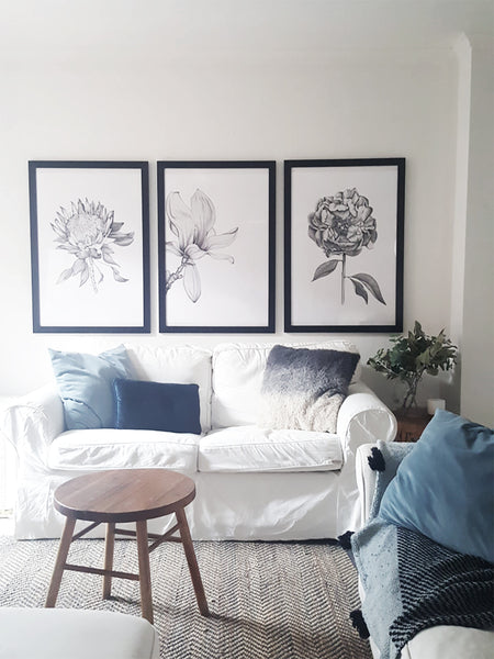 set of 3 prints offer. Save $30 on the Protea, Magnolia and Peony illustrations