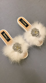 White Crystal Luxe Slides