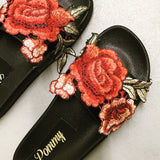 Valencia Black Embroidered Slides