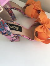 Zenia Block Embroidered Bow Heels