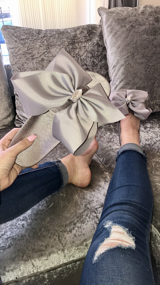 Sadie Grey Crystal Bow Slides