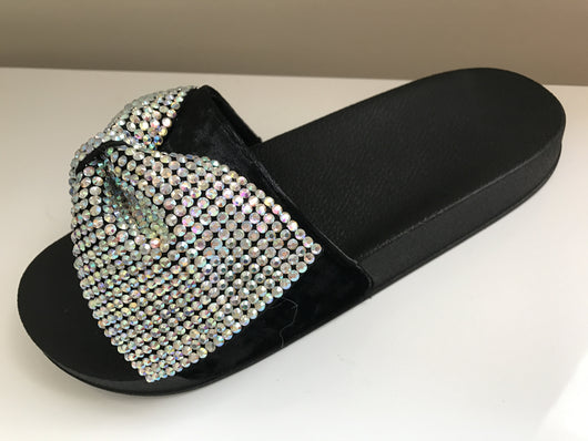 Valda Crystal Bow Slides