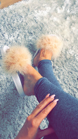 Nude Luxe Feather Slides