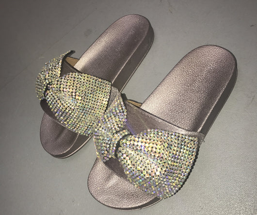 Lola Grey Crystal Bow Slides