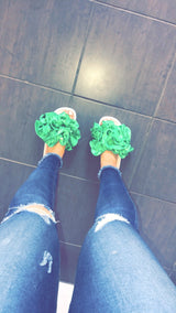 Emerald Ruffle Slides