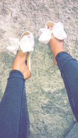 Olivia White Bow Slides