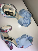 SAMPLE Lucinda Blue Floral Block Heels