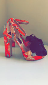Fabria Red Oriental Heels
