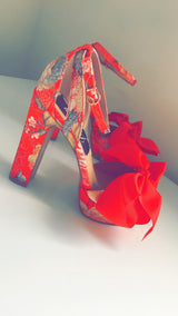 Roussa Red Bow Oriental Heels
