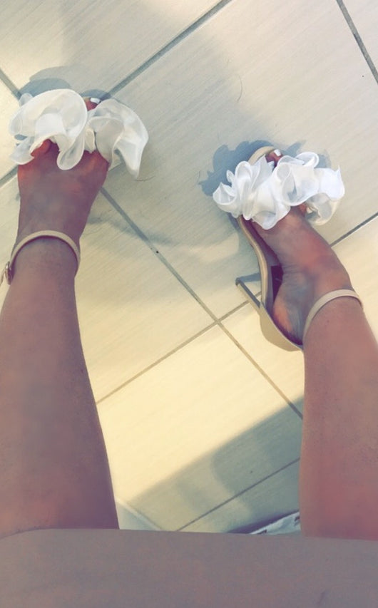 SAMPLE Cecilia White Ruffle Heels