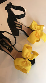 Mellow Yellow Bow Block Heels