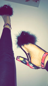 Dolly Black Feather Floral Heels