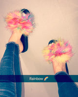 Rainbow Noir Feather Slides