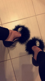 Naples Black Feather Crystal Heels