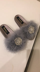 Deloria Grey Feather Crystal Slides