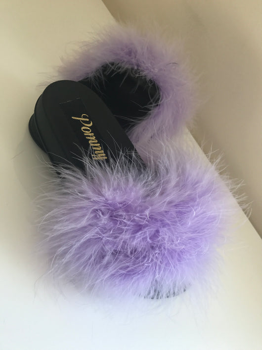 Lilac Noir Luxe Feather Slides