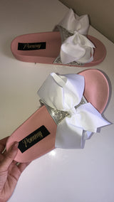 Sylva Crystal White Bow Slides