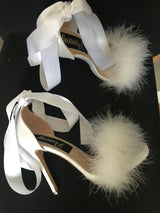 Octavia White Feather Ribbon Heels