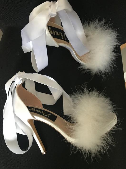 SAMPLE  Octavia White Feather Ribbon Heels