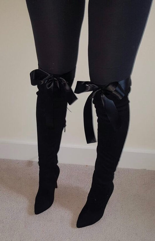 Minxy Black Thigh High Ribbon Boots