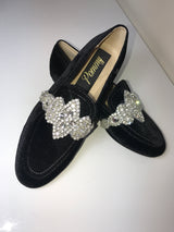 Fornia Black Velvet Crystal Loafers