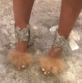 Riala Nude Feather Crystal Block Heels