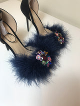 Exubria Navy Feather Crystal Heels