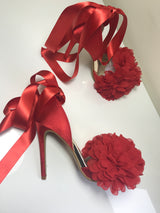 Enigma Red Floral Ribbon Heels