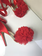 SAMPLE Enigma Red Floral Ribbon Heels