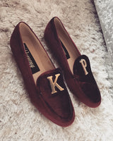 Burgundy Velvet Personalised Loafers - ItsPommy