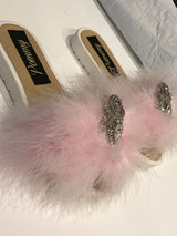 Pink Feather Crystal Luxe Slides