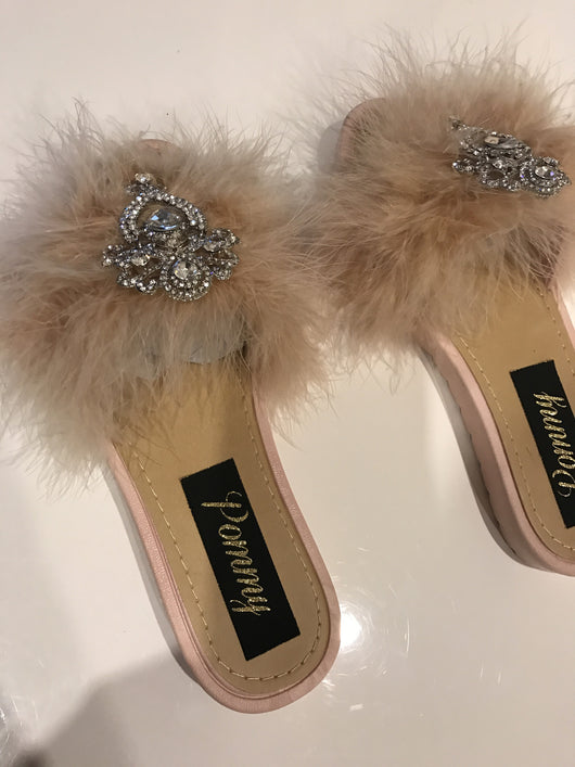 Nude Crystal Feather Luxe Slides