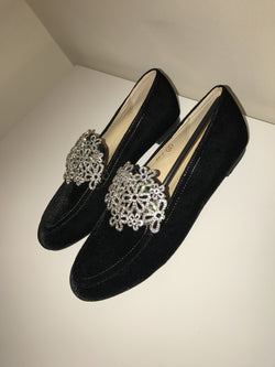 Black Crystal Velvet Loafers