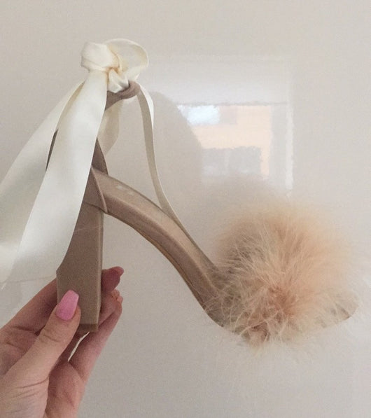 Nude Feather Heels with Satin Anklet