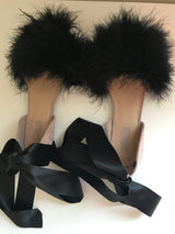 Mimi Black Feather Flats