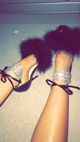 Viktoria Black Crystal Feather Heels