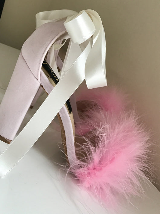 FiFi Pink Feather Block Ribbon Heels
