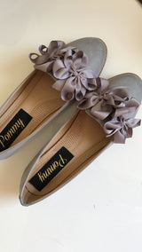 Molly Grey Double Bow Loafers