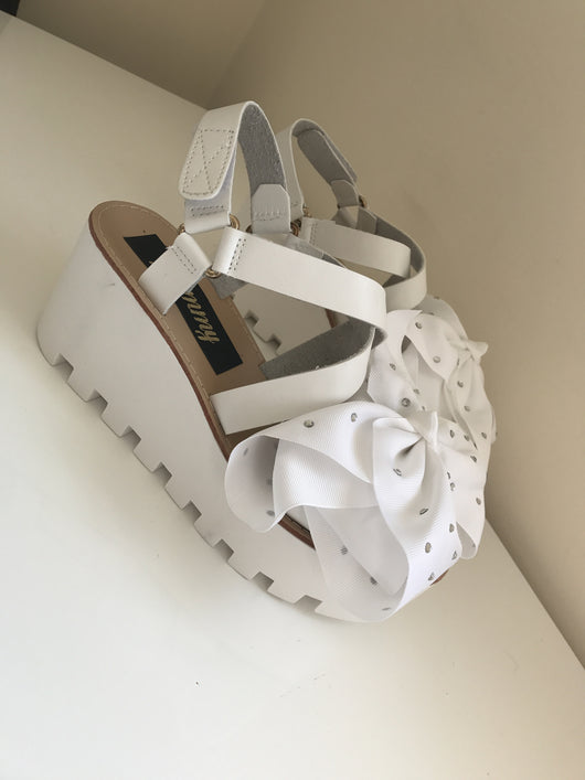 Ellie White Crystal Wedges