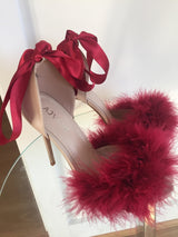 Mulberry Ribbon Feather Heels