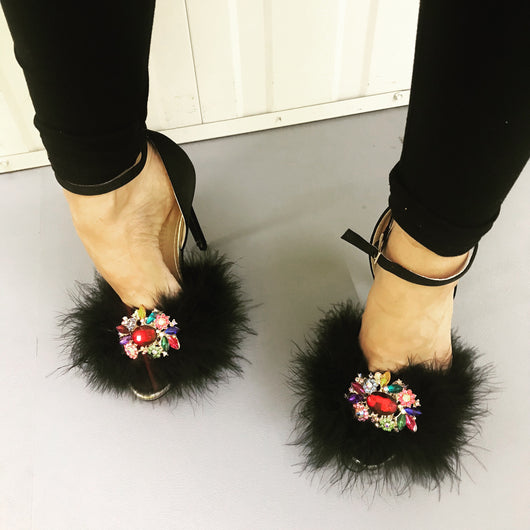 Exubria Noir Feather Crystal Heels