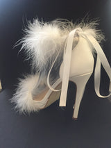 Jolie White Feather Ribbon Heels