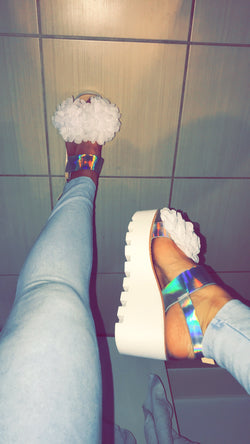 Niala White Floral Wedges